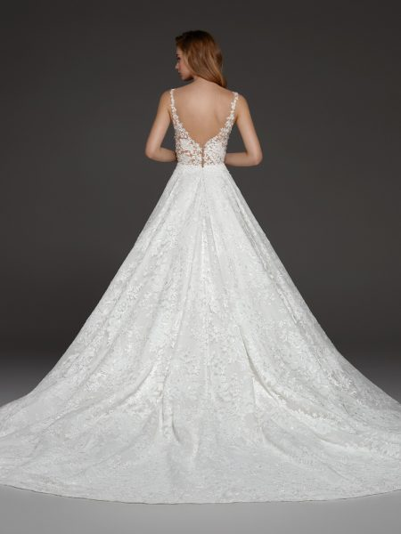 Illusion Beaded Lace V-neck Bodice Ball Gown Lace Wedding Dress by Pronovias - Image 2