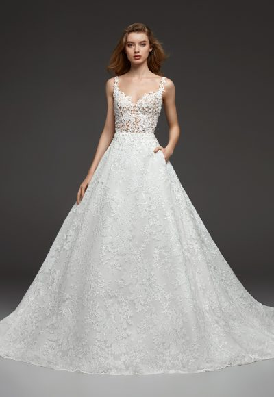 Illusion Beaded Lace V-neck Bodice Ball Gown Lace Wedding Dress by Pronovias