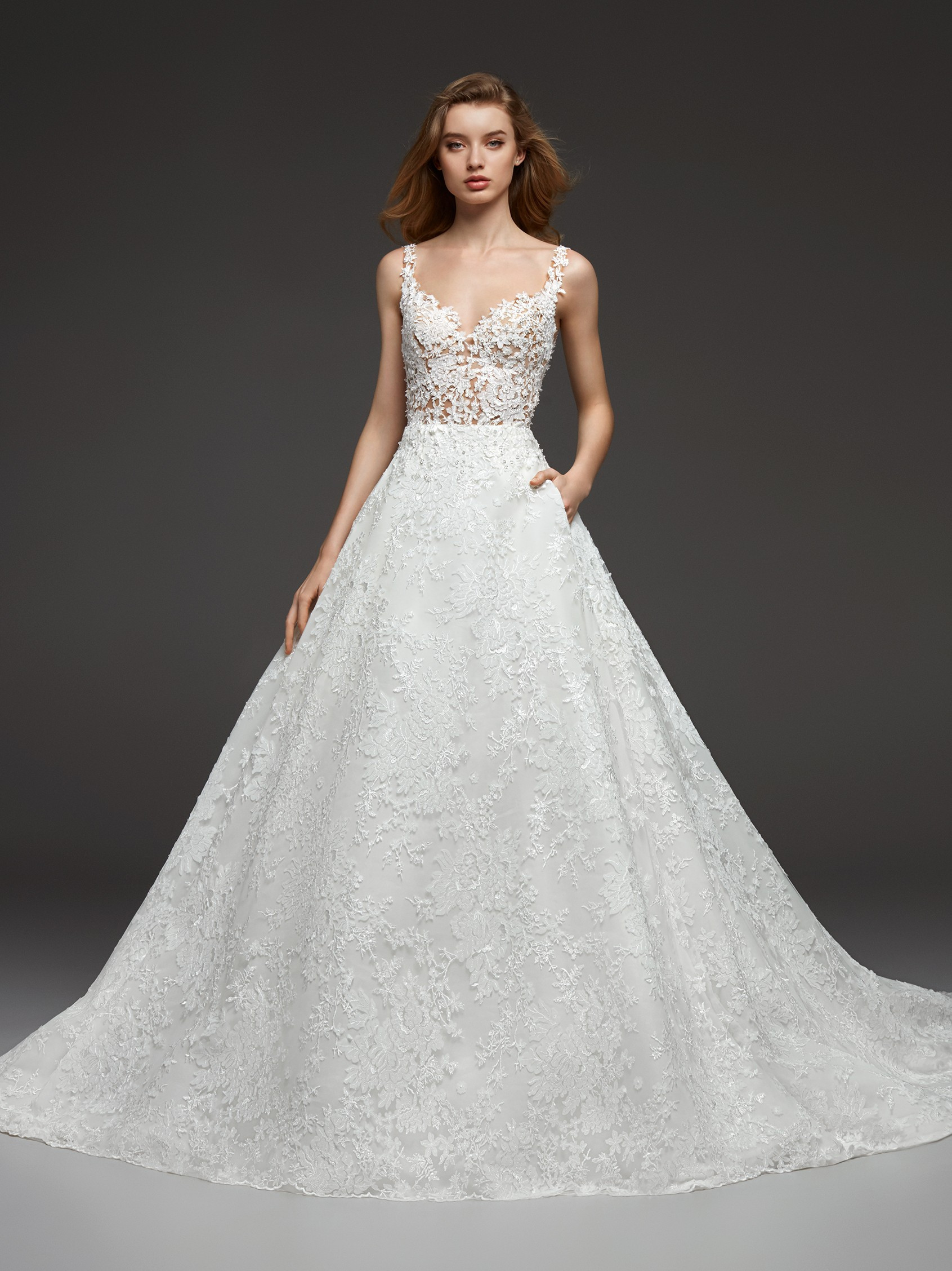 45f3cd40f385 Illusion Beaded Lace V-neck Bodice Ball Gown Lace Wedding Dress | Kleinfeld  Bridal
