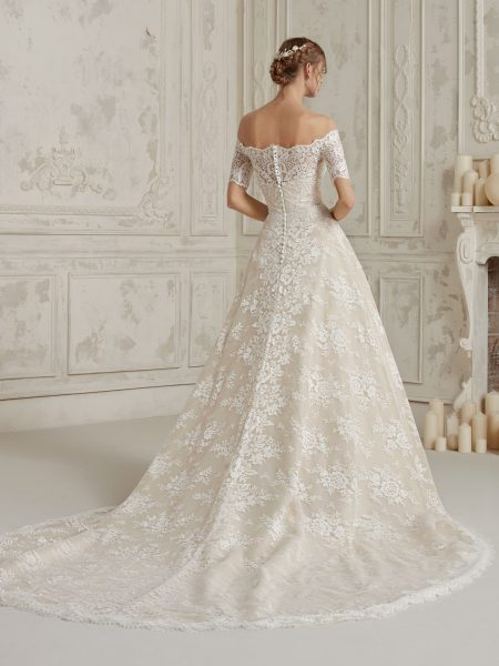 Off The Shoulder Fully Lace A-line Wedding Dress by Pronovias - Image 2