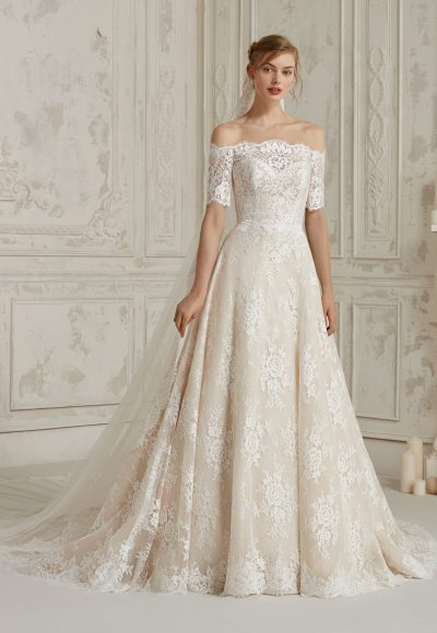 Off The Shoulder Fully Lace A-line Wedding Dress by Pronovias