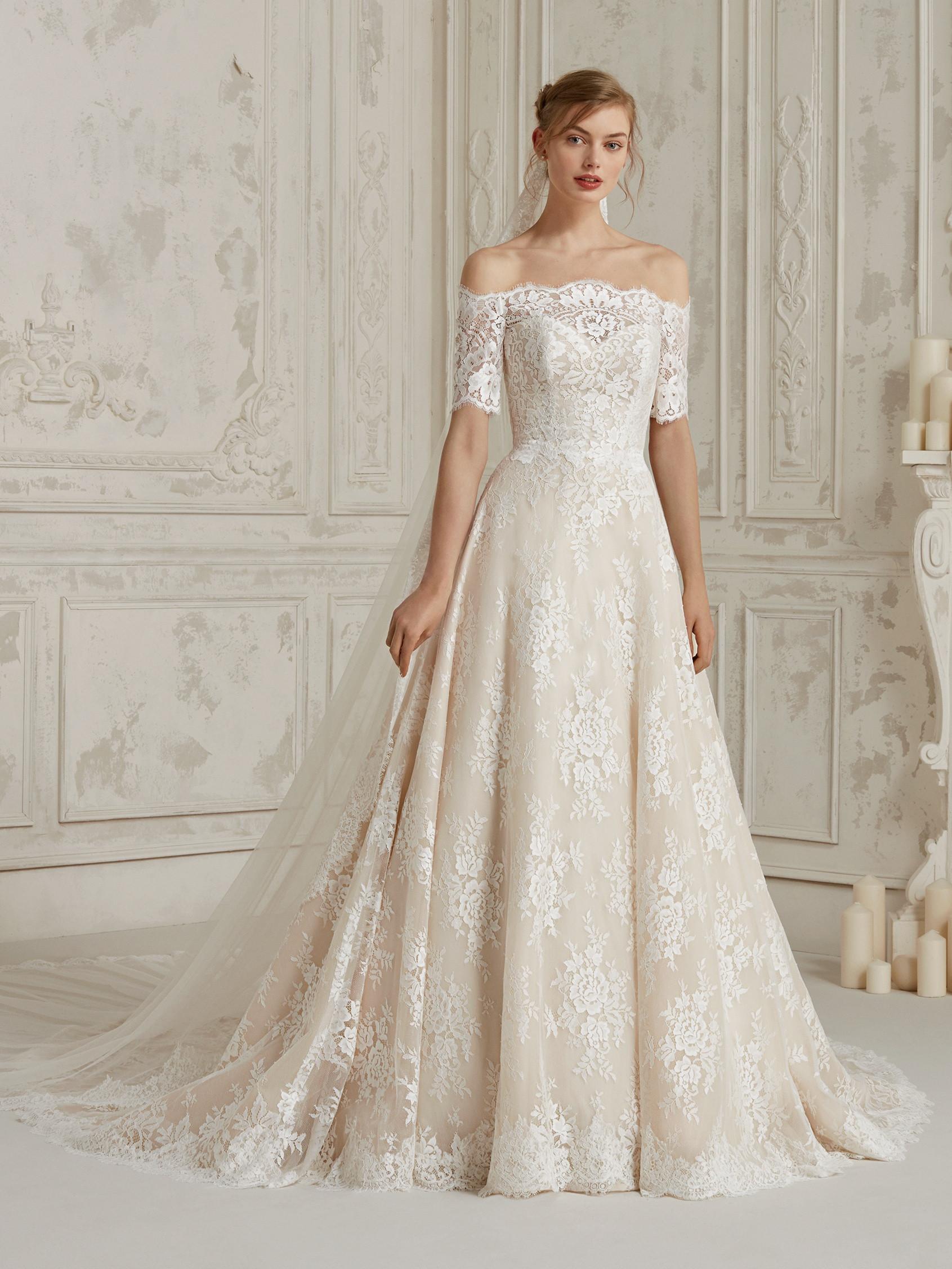 Off The Shoulder Fully Lace A Line Wedding Dress Kleinfeld Bridal