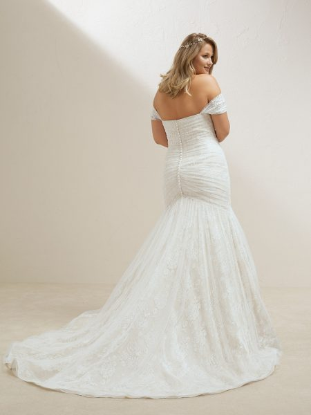 Off The Shoulder Sweetheart Neckline Ruched Bodice Mermaid Wedding Dress by Pronovias - Image 2