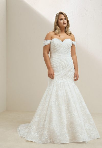 Off The Shoulder Sweetheart Neckline Ruched Bodice Mermaid Wedding Dress by Pronovias