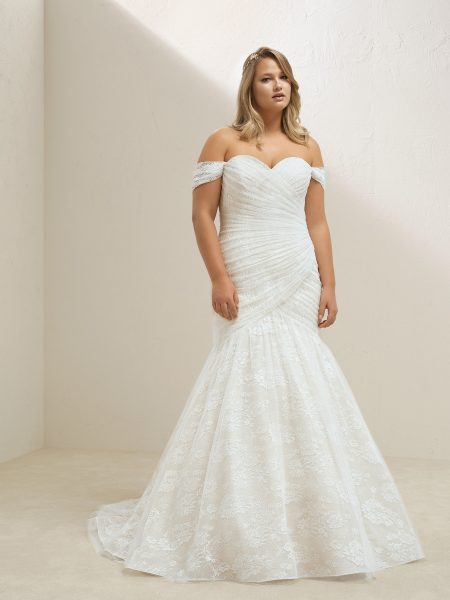 Off The Shoulder Sweetheart Neckline Ruched Bodice Mermaid Wedding Dress by Pronovias - Image 1