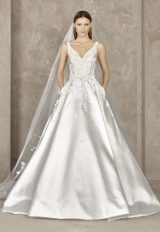 Sleeveless Beaded Applique V-neck Bodice Ball Gown Wedding Dress by Pronovias - Image 1
