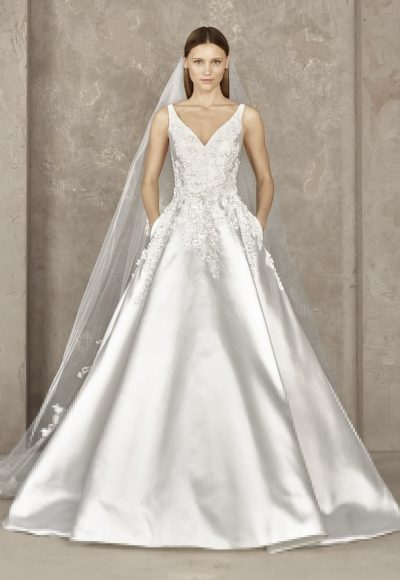 Sleeveless Beaded Applique V-neck Bodice Ball Gown Wedding Dress by Pronovias