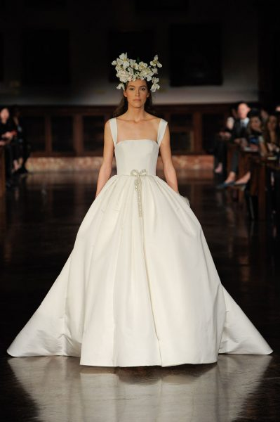 Straight Neckline Sleeveless Ball Gown Wedding Dress by Reem Acra - Image 1