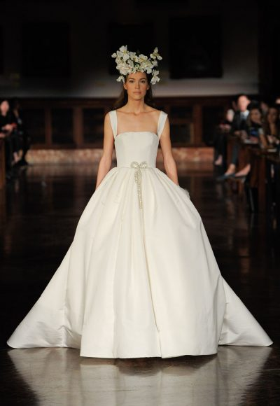 Straight Neckline Sleeveless Ball Gown Wedding Dress by Reem Acra