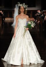 Strapless Sweetheart Neckline Floral Print A-line Wedding Dress by Reem Acra - Image 1