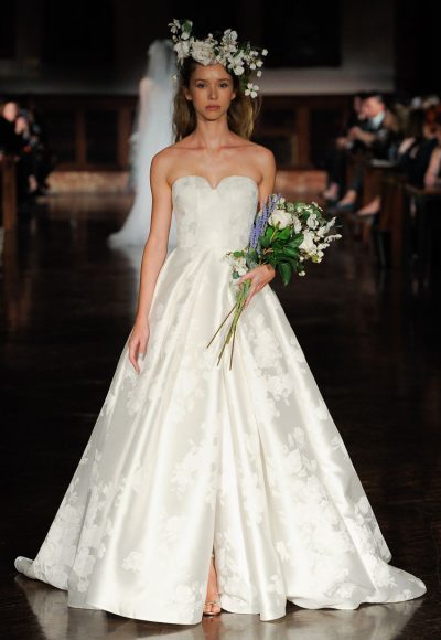 Strapless Sweetheart Neckline Floral Print A-line Wedding Dress by Reem Acra