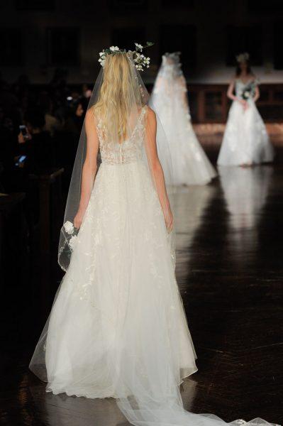 V-neck Sleeveless Beaded A-line Wedding Dress by Reem Acra - Image 2