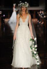 V-neck Sleeveless Beaded A-line Wedding Dress by Reem Acra - Image 1