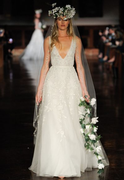 V-neck Sleeveless Beaded A-line Wedding Dress by Reem Acra