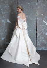 Off The Shoulder Lace Bodice Silk Skirt A-line Wedding Dress by LEGENDS Romona Keveza - Image 2