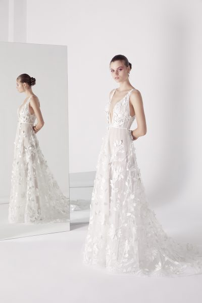 Plunging V-neck Sleeveless Appliqued A-line Wedding Dress by Suzanne Harward - Image 1