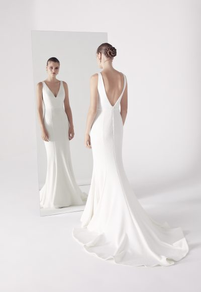 Plunging V-neck Sleeveless Fit And Flare Wedding Dress by Suzanne Harward