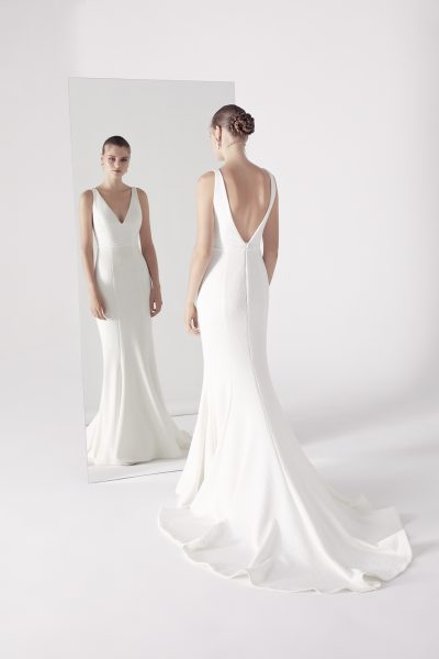 Plunging V-neck Sleeveless Fit And Flare Wedding Dress by Suzanne Harward - Image 1