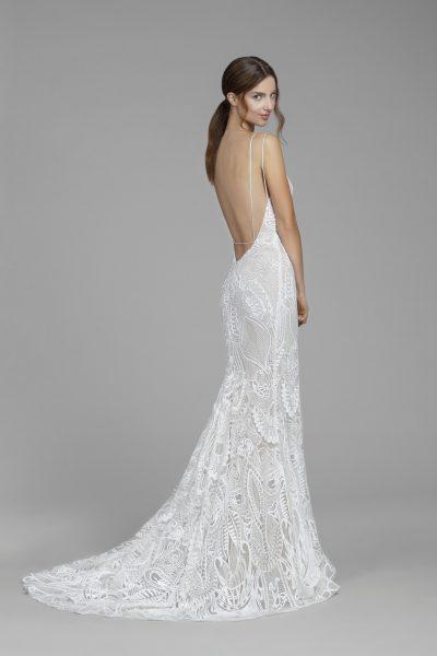 Fully Lace Plunging Back Sheath Wedding Dress by Tara Keely - Image 2