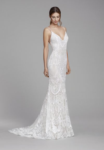 Fully Lace Plunging Back Sheath Wedding Dress by Tara Keely