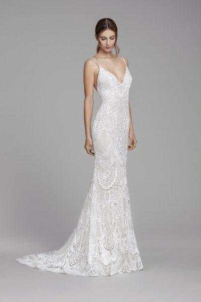 Fully Lace Plunging Back Sheath Wedding Dress by Tara Keely - Image 1