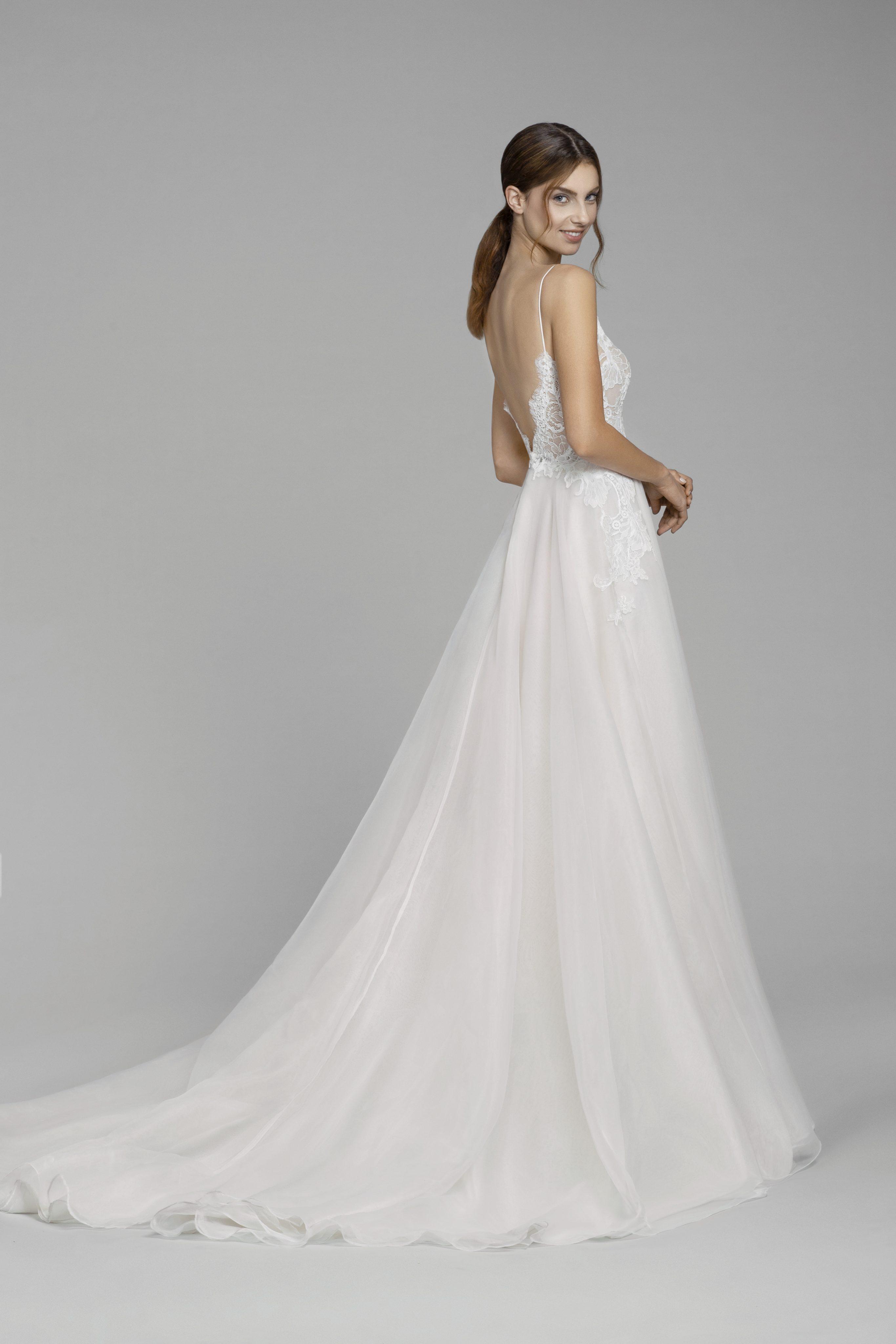 d5a393ca090 V-neck Lace Bodice Spaghetti Strap A-line Wedding Dress | Kleinfeld Bridal