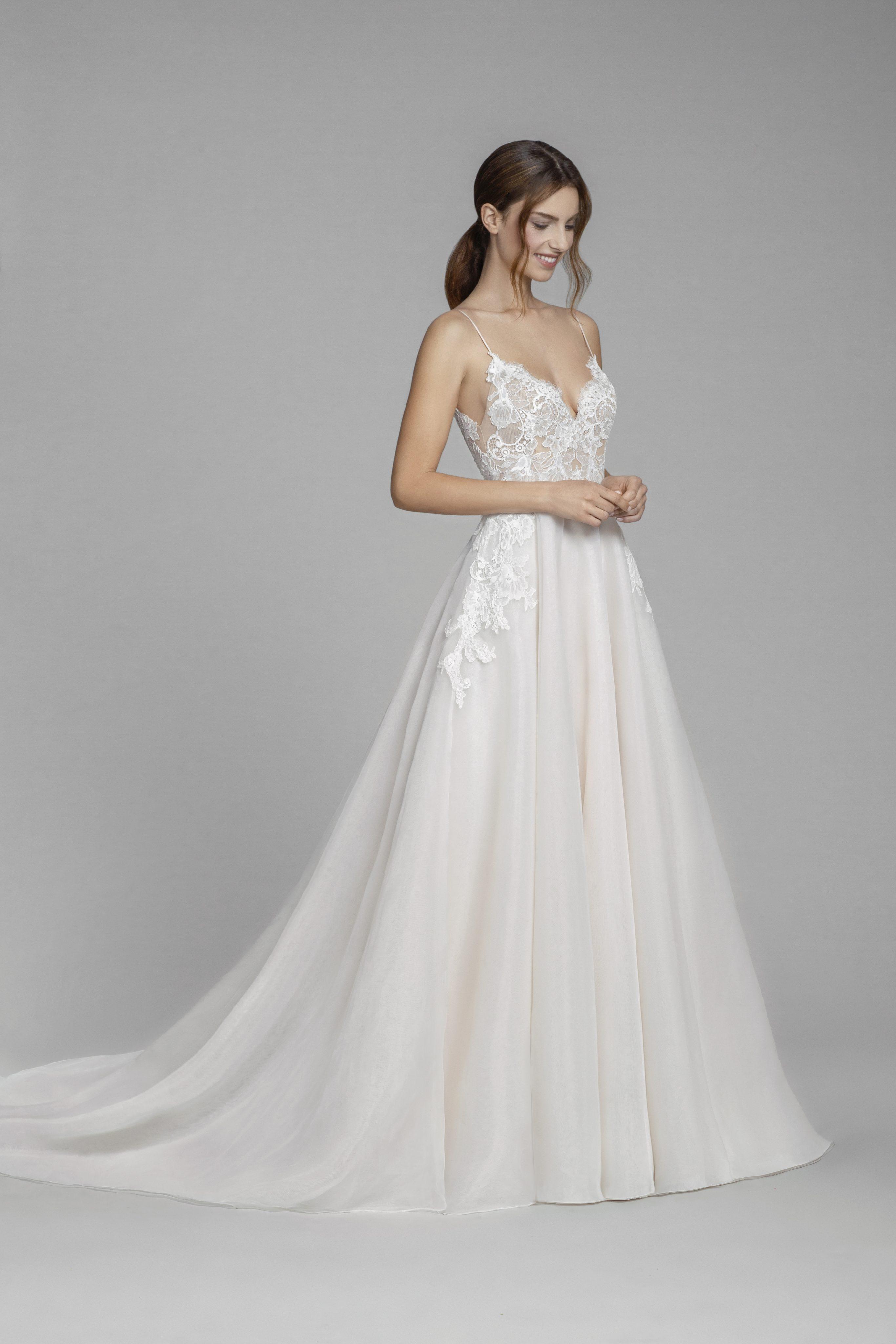 V Neck Lace Bodice Spaghetti Strap A Line Wedding Dress Kleinfeld