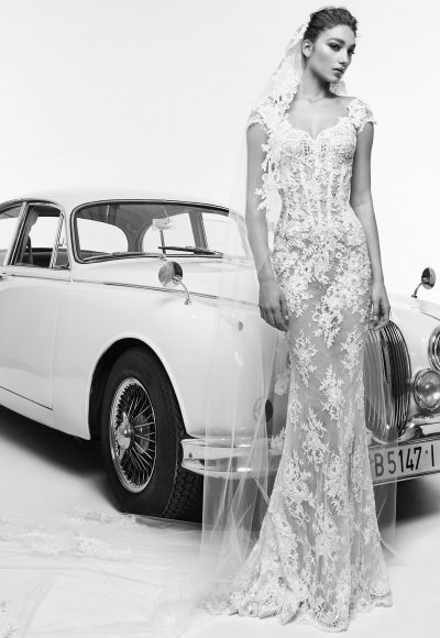 Cap Sleeved Fully Lace Sheath Wedding Dress by Zuhair Murad