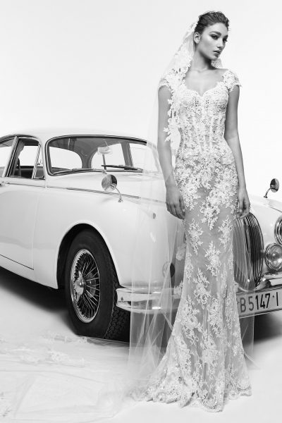 Cap Sleeved Fully Lace Sheath Wedding Dress by Zuhair Murad - Image 1