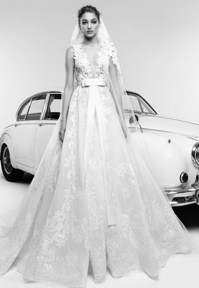 Plunging V-neck Lace Bodice A-line Wedding Dress by Zuhair Murad