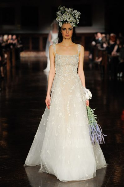 Spaghetti Strap Floral Applique A-line Wedding Dress by Reem Acra - Image 1