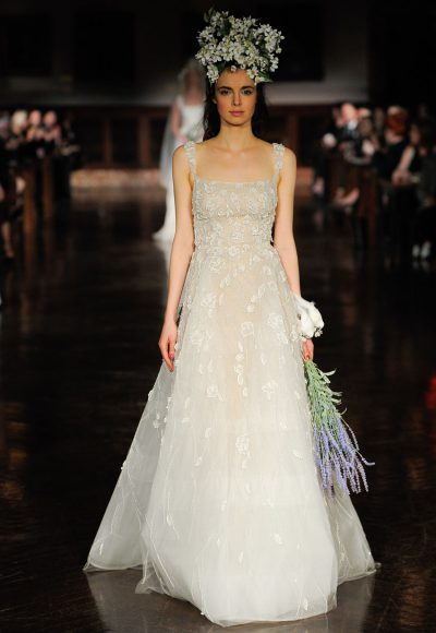 Spaghetti Strap Floral Applique A-line Wedding Dress by Reem Acra