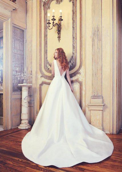 Sleeveless V-neck Shantung Ball Gown Wedding Dress by Sareh Nouri - Image 2