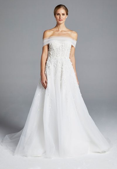 Floral Embroidery Strapless A-line Wedding Dress by Anne Barge