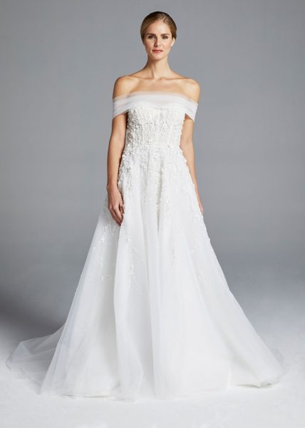 Floral Embroidery Strapless A-line Wedding Dress by Anne Barge - Image 1