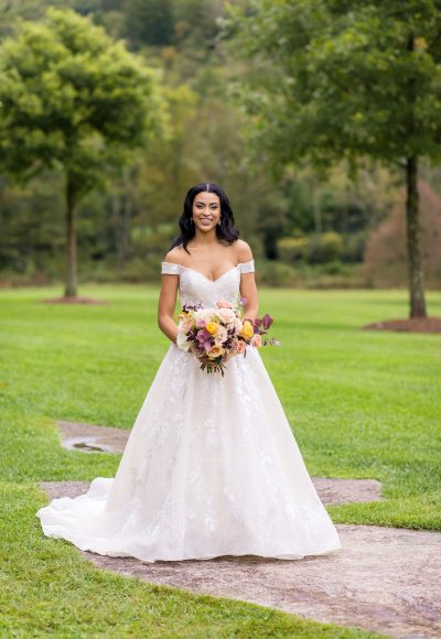 Off The Shoulder Lace Applique A-line Wedding Dress by Danielle Caprese