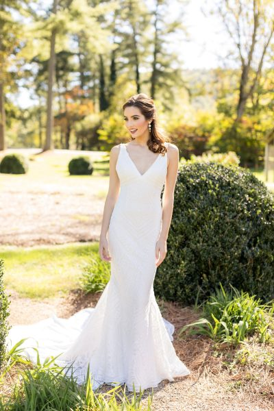 Sleeveless V-neck Embroidered Sheath Wedding Dress by Danielle Caprese - Image 1