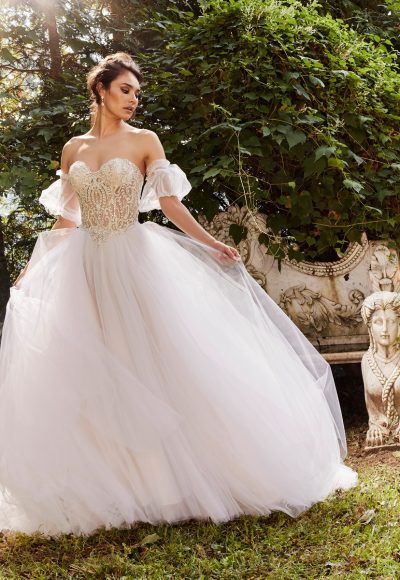 Beaded Strapless Bodice Full Skirt Ball Gown Wedding Dress by Eve of Milady