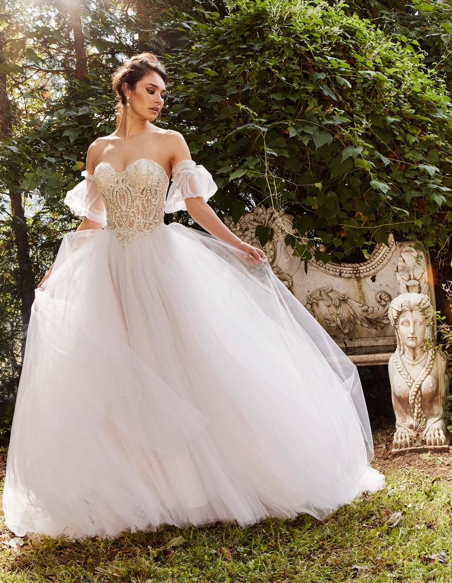 Beaded Strapless Bodice Full Skirt Ball Gown Wedding Dress
