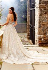 Beaded V-neck Bodice A-line Wedding Dress by Eve of Milady - Image 2