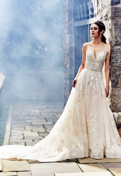 Beaded V-neck Bodice A-line Wedding Dress by Eve of Milady