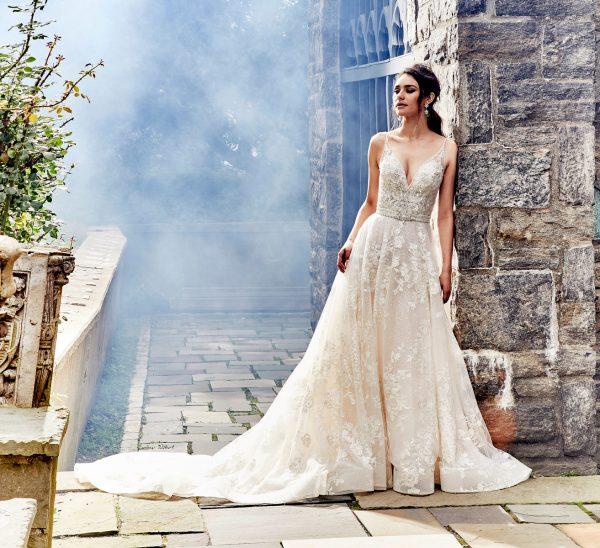Beaded V-neck Bodice A-line Wedding Dress by Eve of Milady - Image 1