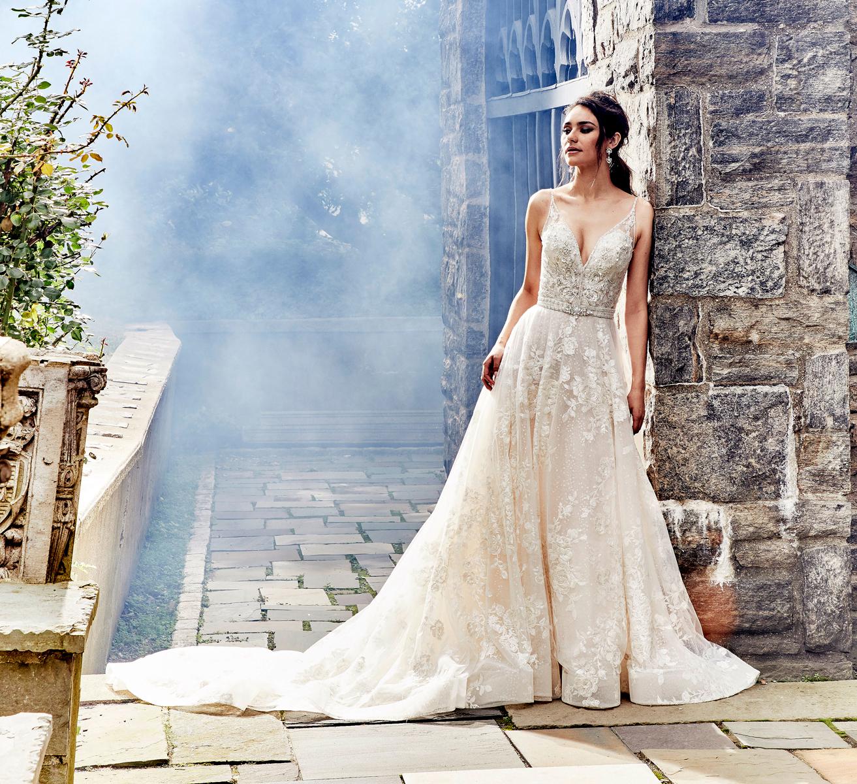 Beaded V Neck Bodice A Line Wedding Dress Kleinfeld Bridal