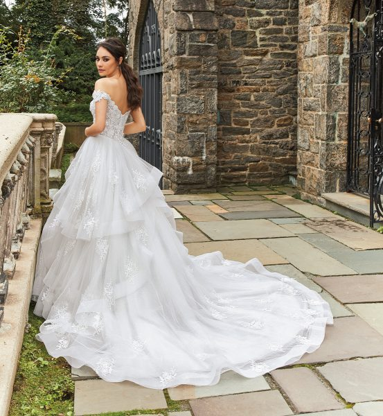 Off The Shoulder Beaded Bodice Ball Gown Wedding Dress by Eve of Milady - Image 2