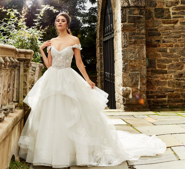 Off The Shoulder Beaded Bodice Ball Gown Wedding Dress by Eve of Milady - Image 1