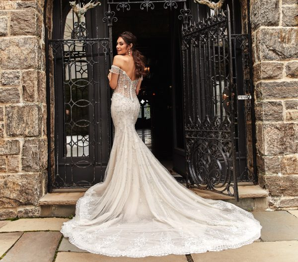 Off The Shoulder Beaded Fit And Flare Wedding Dress by Eve of Milady - Image 2