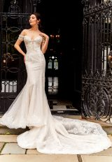 Off The Shoulder Beaded Fit And Flare Wedding Dress by Eve of Milady - Image 1