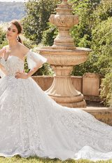 Sheer Beaded Bodice Strapless Ball Gown Wedding Dress by Eve of Milady - Image 1