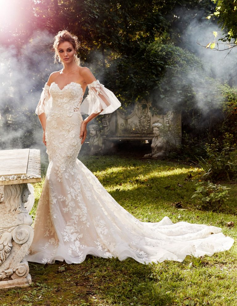 Strapless Floral Applique Sexy Fit And Flare Wedding Dress by Eve of Milady - Image 1