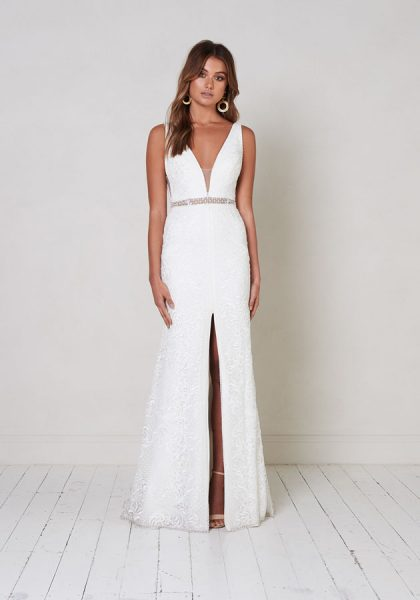 A-line Lace Wedding Dress With Glitter Belt. by Jane Hill - Image 1